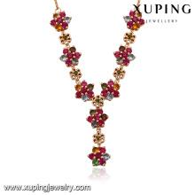 43448-Xuping Frauen weibliche neueste Blumen Design Gold bunte Halsketten