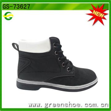 Black Imitation Leather Lace Child Boots