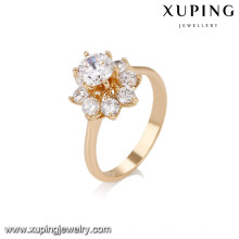 14734 Fashion jewelry copper alloy ring, 18k gold color flower shape simple ring for girls