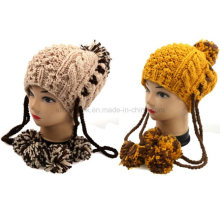 Moda nuevo diseño a mano de punto de piña invierno Pom Pom Hat