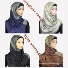 Luxury brand whosale new trend women dubai styles gradient ramp foulard sequin muslim cotton scarf hijab