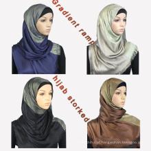 Marca de luxo whosale nova tendência mulheres dubai estilos gradiente rampa foulard lenço lenço de algodão muçulmano hijab