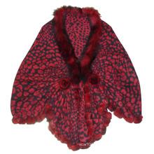 Lady Fashion Burgundy Wool Knitted Leopard Shawl (YKY4142-3)