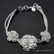 Vente en gros Pendentifs fleurs 925 Bracelet argent pour femme BSS-014