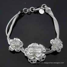 Wholesale Flower Charms 925 Silver Bracelet for Women BSS-014