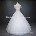 Braut eine Linie bodenlangen Lace Up Korsett Organza Ballkleid trägerlos applizierte Spitze Stoff und Chiffon Brautkleid