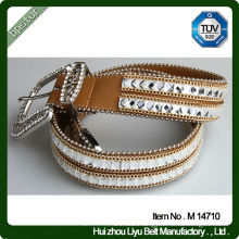 Pu Women Crystal Beaded Belts For Dresses With Alloy Buckle Fashion