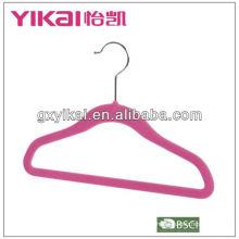 Velvet flocking hanger com barra de calças
