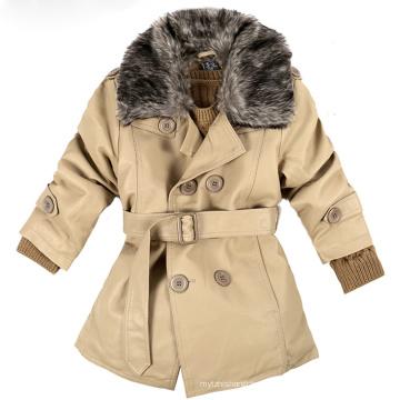 Herbst und Winter Kinder tragen Baumwolle gefütterte Kleidung Leder Motorradjacke mit Pelzkragen, Kinder PU Lederjacke