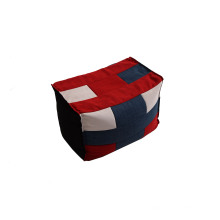 Light Bean Bag Ottoman with Multicolor Fabric