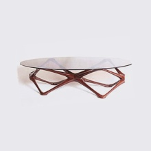 Mesa de chá de vidro leve com moldura de madeira de luxo