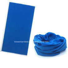 OEM Produce Customized Logo Printed Blue Microfiber Multifunctional Magic Sprots Headwear Tubular Buff