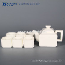 6 pessoa OEM logos Branco Fine Square Fine cerâmica chá chinês set