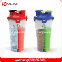 700ml Plastik doppelte getrennte Shaker BPA frei (KL-7015)