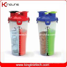 Shaker séparé double en plastique 700ml sans BPA (KL-7015)