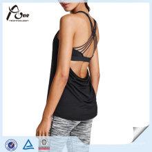 Lady Gym Wear Atacado Custom Fitness Stringer Camisola de alças