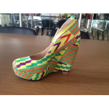 African Printed Fabric Wedge Shoes (HCY02-1483)