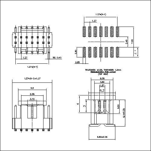 BHAM07-XG0BBW 1.27 mm BOX HEADER WITH THE KEY,SMT H=2.54MM
