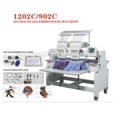 2 cabeças 15 agulhas máquina de bordar 3D com preço de fábrica para vestuário / chapéu / apartamento