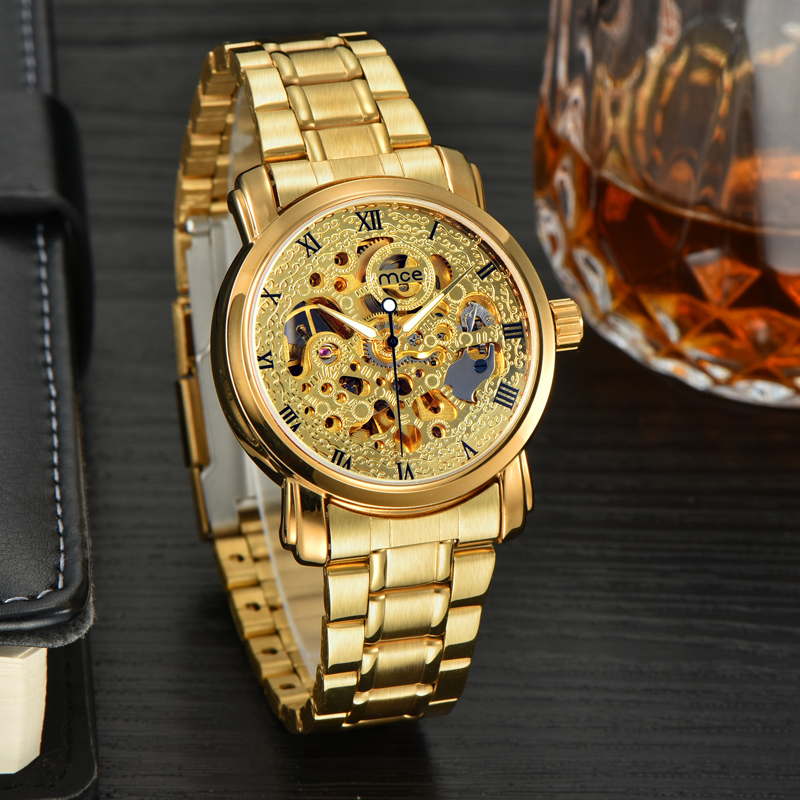 custom skeleton automatic gold mechanical mens watch