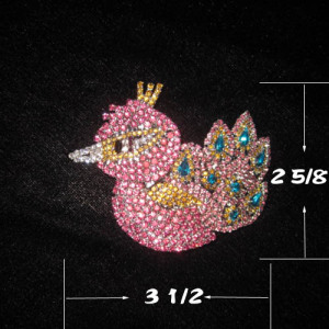 Crystal Peacock Pageant Sash Pins