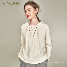 Lace Up Frauen Pullover 100% Merino Wolle Pullvoer Hood