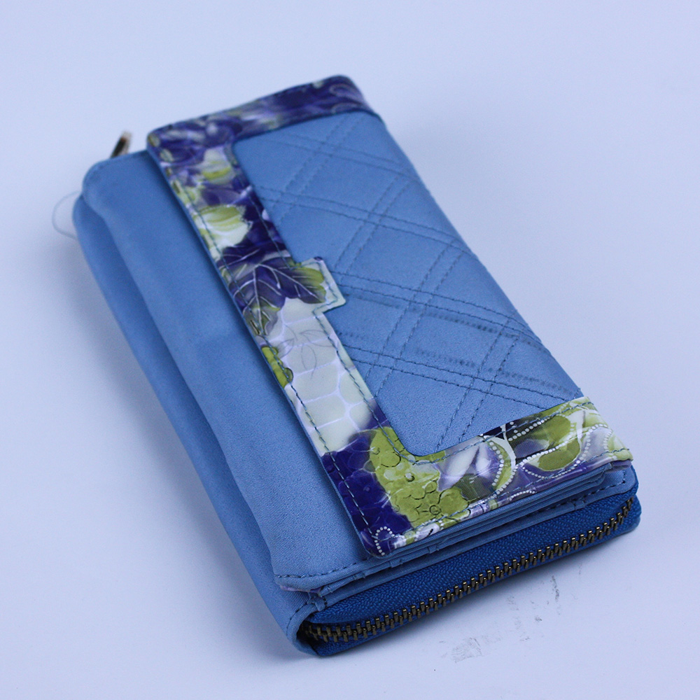 Faille Surface Wallet Card Zipper Phone Holder Organizer