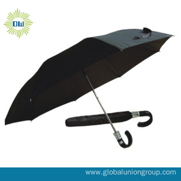 2 Fold Design Handheld Black Umbrella
