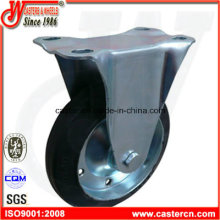 6 Inch Fixed Industrial Caster with Black Rubber Wheel
