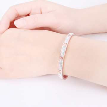 Rostfritt rostfritt stål Rose Gold Love Bangle Armband
