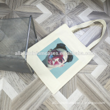 Flower printing pvc coated cotton shopping bag with zipper