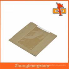 Bolsos de papel marrón de la venta al por mayor del precio bajo con el execllent greaseproof con la ventana