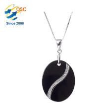Heißer Verkauf Damen Schmuck Kreis Geformt Single Stone Anhänger Halskette