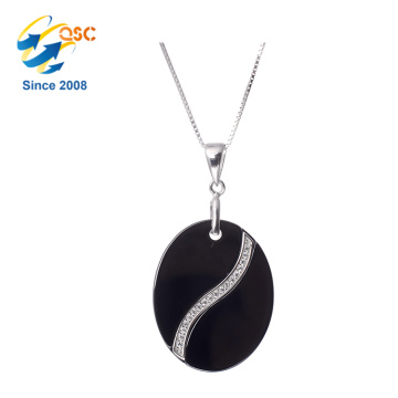 Hot Sale Ladies Jewelry Circle Shaped Single Stone Pendant Necklace