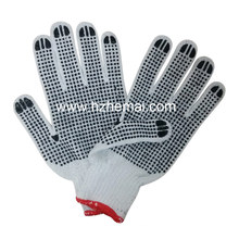 Cotton Knitted Double PVC Dotted Industrial Hand Safety Work Gloves