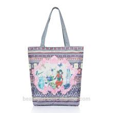 Pintura al óleo de impresión de algodón natural femenina folk-personalizado bolsa de hombro bolso de compras de poliéster CB04