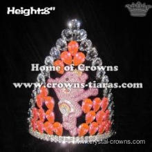 Crystal Pink Bear Princess Crowns With Big Diamonds