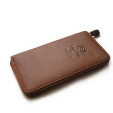 Fashion designer men leather wallet leisure style, zipper closure