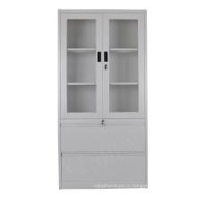 двойные стеклянные двери офисная металлическая для хранения стальной шкаф