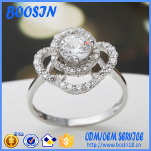 Flower Shape Silver Ring with Zircon for Wedding