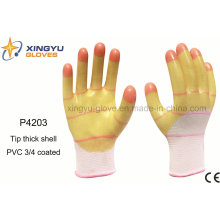 Consejo Guante de trabajo de seguridad recubierto de PVC espeso 3/4 (P4203)