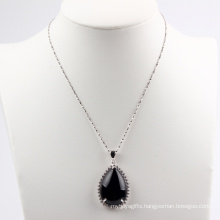 Pear Shape Black Agate Fashion Pendant /Necklace Jewelry