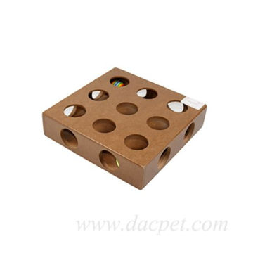 Wooden hole Interactive cat toy