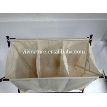 Carrinho de lavanderia com grande saco e cesto de roupa suja
