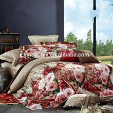 2015 satén caliente de las ventas satén jacquard lecho suite cuatro piezas paquete correo hogar textil algodón