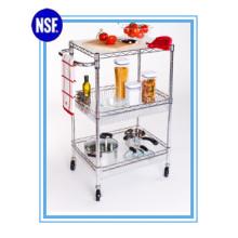 Einstellbare Chrom Küche Metall Lagerung Trolley -Neu (TR7535120B3CW)