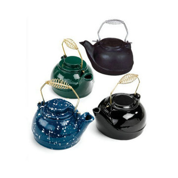 Chinese style spring handle cast iron enamel kettle teapot