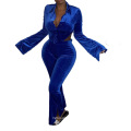 C7246 Latest Sexy Jogger Tracksuit Long Sleeve Backless Outfits Women 2 Piece Flare Pants Velvet Winter Sweatsuit Set