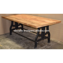 Classic Cast Iron Leg Dining Table Mang Wood Thick Top