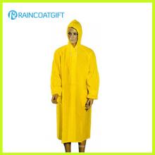Impermeable de los hombres amarillos largos del PVC del 100% (Rvc-133)